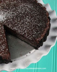 Double Chocolate Fudge tart-an Oreo Cookie Crust filled with decadent creamy fudge filling