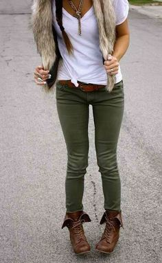 Khaki green pants, brown combat bootss, white t-shirt and fur vest. I have this whole outfit in my closet. Def excited to put this together this fall!