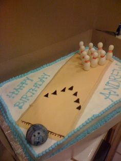 my brother's bowling themed birthday cake