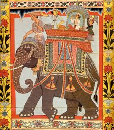 Register from the Gazi Scroll showing men seated on an elephant. Painted paper scroll, West Bengal, India, c. 1800.