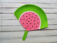 Paper Plate Watermelon Fan at CraftsbyAmanda.com @Amanda Snelson Formaro