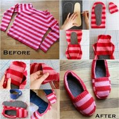 How to Recycle Sweaters into Warm Slippers
