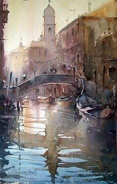 watercolor, paintings of venice, acuarela, dusan djukaric, landscap water, art, illustration venice, watercolour, mornings