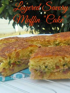 One giant Muffin stuffed with Bacon, Ham Cheeses and more ! #MuffinMix #SavoryPie