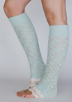 Mint Lace Leg Warmers