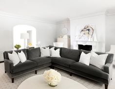 MAS Design - living rooms - white and gray living rooms, dentil molding, dentil crown molding, living room fireplace, fray sectional, gray s...