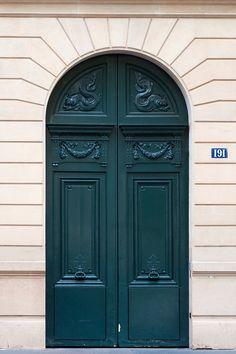 Paris Photo - The Green Door, Architectural Fine Art Photograph, Urban Home Decor, Parisian Wall Art