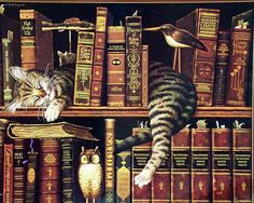libraries, cats, books, charles wysocki, art, charleswysocki, read, kitty, charl wysocki