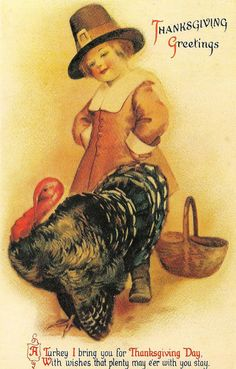 pilgrim with turkey greet card, vintage holiday, vintag thanksgiv, greeting cards, thanksgiv vintag, thanksgiving cards, postcard, pilgrim, vintage cards