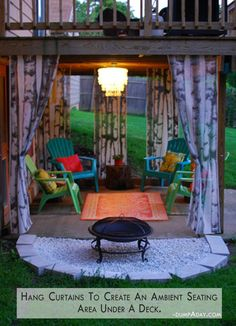 outdoor rooms, hanging curtains, back porches, backyard, shower curtains, deck, sitting areas, outdoor curtains, seating areas
