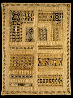 Samplers from the Collection | V&A Sampler 1884 Linen, embroidered with silk, with drawn thread work Length 42.5 cm Width 33 cm 194-1885