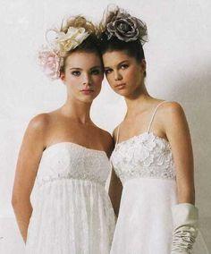 Bridesmaids with high buns hair piec, wedding flowers, high updo with flowers, flower power, high bun
