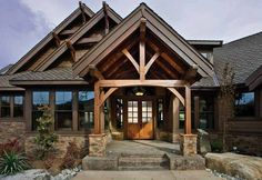 """LOVE LOVE the NW Craftsmen """"Lodge"""" style of home. Cottage and Bungalow styles are also favs. I want to build a rustic timber frame lodge one day on the lake. I just need the winning ticket. :) PS: This is Mike Hasselbecks house. He has my taste! LOL!"""