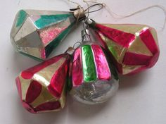 Antique Russian Christmas glass ornaments