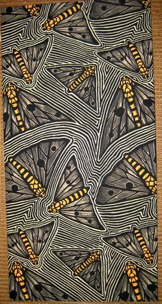 """Bogong Moths"" - Bruce Goold {contemporary artist signed 4-color silkscreened fabric insects}"