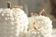 """White Chenille Pumpkins - Fall Decor - LOVE #WhitePumpkins and these are lovely! (inspiration only but i have pins that show how to make these) - I especially love the sticks and grapevine twirls - rough against the softness of the chenille, and making them more """"real"""". #chenille #sewing #FallDecorating #autumn - pb†å"""