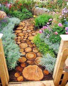 tree stumps, pathway, tree trunks, garden paths, outdoor living spaces, garden walkways, garden idea, place, stepping stones