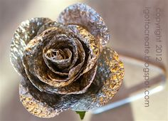 DIY #aluminum foil ROSE!   Great for #Valentine #Wedding #Shower #Anniversary #Mothers Day   Tutorial at I Gotta Create!