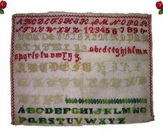 Antique Late 1800s Sampler Embroidered Needlepoint Old Gothic Alphabet Italic