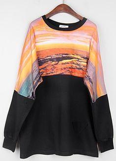 Black Long Sleeve Galaxy Print Loose Sweatshirt
