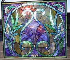 Blue Dawn stained glass window panel by C.H. Vahalla