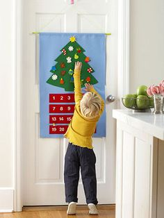 Advent Calendar.    Each day, your child can pull out a tiny sweet treat or a mini ornament to stick on the tree.     For instructions and an easy template, keep clicking.