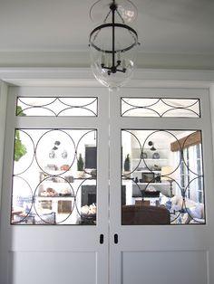 pocket leaded glass doors