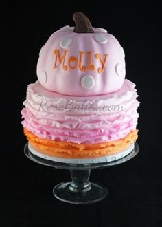 Pink Pumpkin Cake with Ombre Ruffles (and some party pics from the Pumpkin Patch Party!