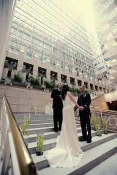 We love the dramatic atrium of The City Club of Washington. This creates a gorgeous stage for your modern and chic wedding ceremony! {The City Club of Washington}