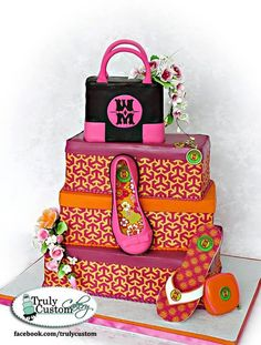 shoe box cake, tory burch themed. All edible