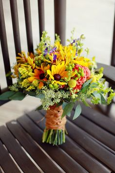 colorful bouquet of wild flowers-