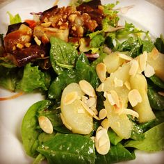 Thai eggplant salad with crushed peanuts and spinach pear salad with pear vinaigrette and toasted almonds. #brunch #sundaybrunch #sundayfunday #salad #food #instafood #pears #peanuts #peronafarms #fresh