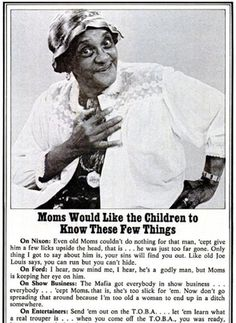 Jackie (Moms) Mabley (born March 19, 1894) was the most popular (and highest paid) female comedian of her time. #TodayInBlackHistory