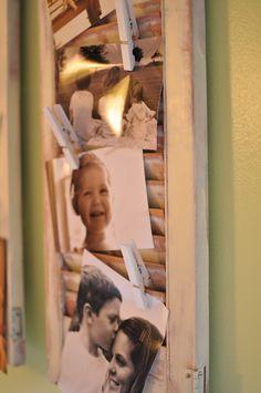 shutter photo display...bedroom at camp