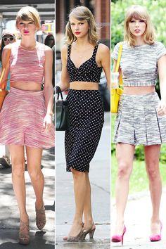 Taylor Swift flaunts her signature style- a crop top and high-waisted skirt