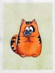 Cat and cornflower by cat-o-morphism.deviantart.com on @deviantART