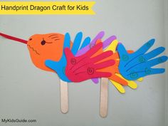 Handprint Dragon Paper Craft for Kids for #Chinese New Year