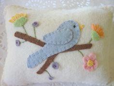 Wool Felt Appliqued Pillow Bluebird & Flower Penny Rug Mini Shelf Pillow by pennysbykristie, via Flickr