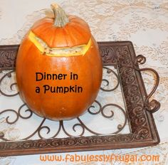 Hamburger and rice dinner in a pumpkin. I love this meal! It is so creamy and makes the pumpkin taste so yummy. My kids are always amazed that we throw the whole pumpkin in the oven and bake it up. Fabulous Halloween Tradition!