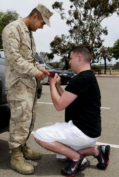 An ex-Navy veteran Cory Huston was anxiously waiting for the return of his boyfriend U.S. Marine Avarice Guerrero from his mission in Afghanistan. When the marine finally arrived at Camp Pendleton, Huston dropped on one knee and asked Guerrero to marry him.    Huston's proposal made history as this became the first proposal of marriage and engagement between two gay men, who are also war vets, on a U.S. military base.