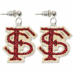 Florida State Seminoles (FSU) Rhinestone Logo Dangle Earrings