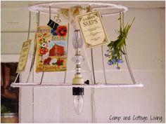 camp, summer porch, repurpos lamp, cottag live, shade