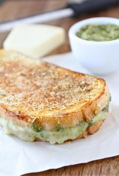 "parmesan crusted pesto grilled cheese! I am such a sucker for ""gourmet"" grilled cheese!"