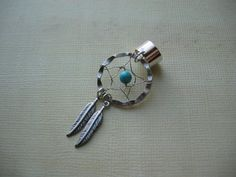 Dream Catcher Ear Cuff  Turquoise and Feather by jingsbeadingworld, $14.00