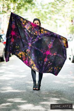 Silk Tie Dye Black Neon Galactic Scarf Wrap by DianeKatzDesign