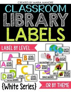 Classroom Library Labels for Bins & Books {White Series)