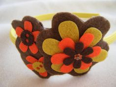 DIY 70s Handmade Hippie BOHO Bohemian Trippy MOD Orange Brown Yellow Felt Flower Applique Headband