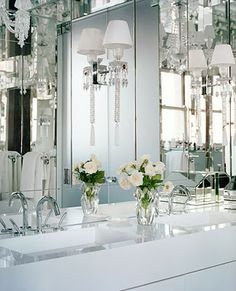 Glamorous bathroom. Baccarat crystal sconces. Andrew Fisher and Jeffry Weisman designers.