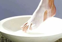 To avoid cracked heels and flaky feet soothe them with a milk and honey pedicure:  Heat up 3 cups of milk and 2 TBSP of honey (let it cool until comfortably warm) Place your feet over a large basin and pour the milk over your feet. Soak for 10-15 minutes and pat dry.Yields one treatment.