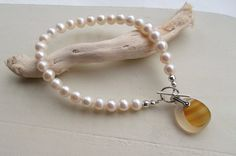 Cream Freshwater Pearl Bracelet with Rare Sea Glass by SeahamWaves, £20.00